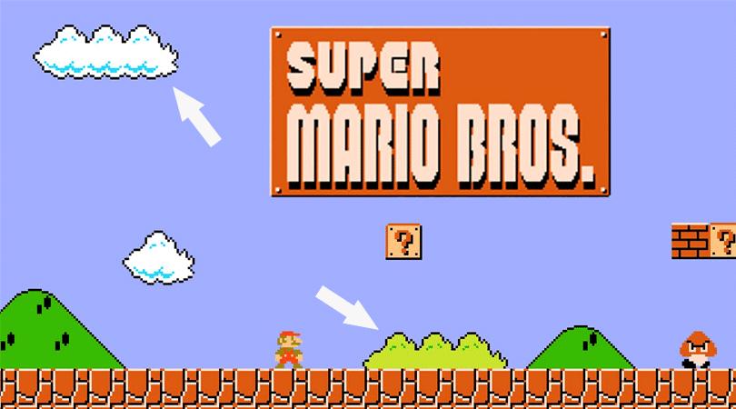 شاشة بدأ لعبة سوبر ماريو بروس الأصلية