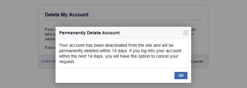 حذف حساب فيس بوك نهائياً