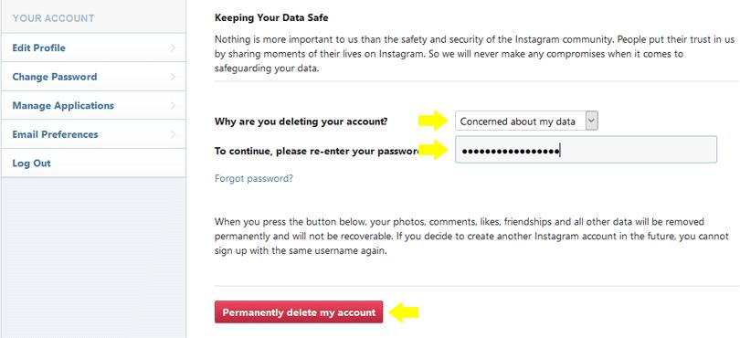 طريقة حذف حساب انستجرام نهائياً أو إيقافه مؤقتاً