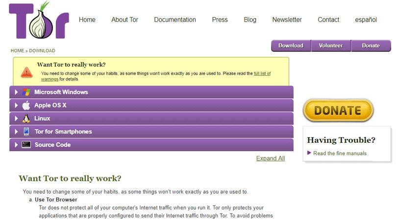متصفح Tor للوصول إلى الإنترنت المظلم