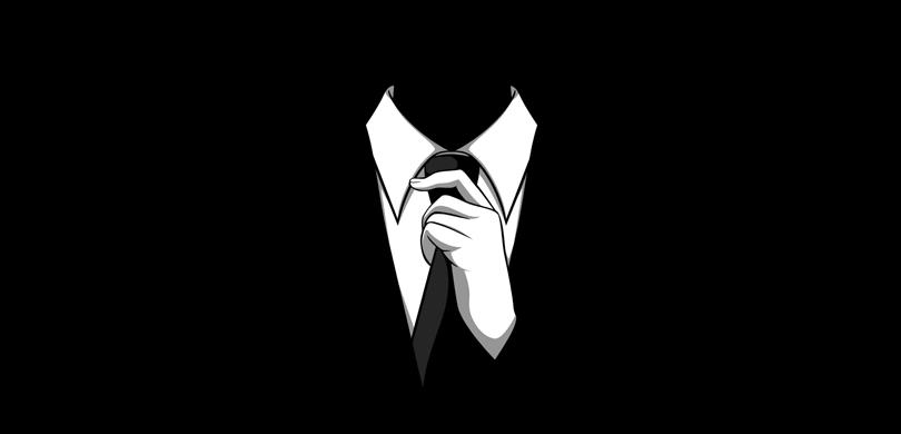 الشعار الرسمي المتعارف عليه لجماعة أنونيموس