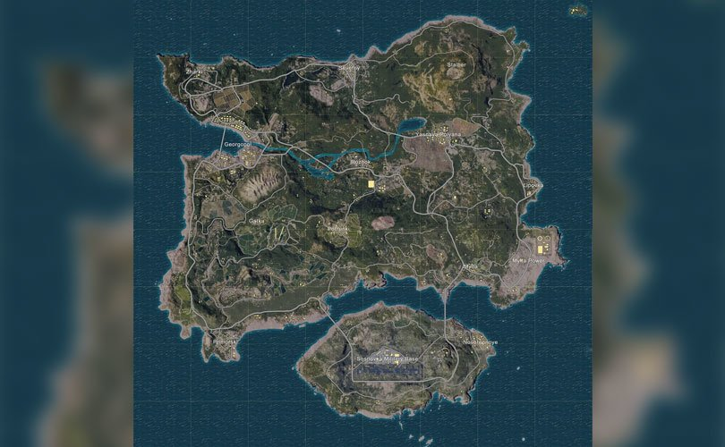Map of Erangel in the game Peggy - PUBG game