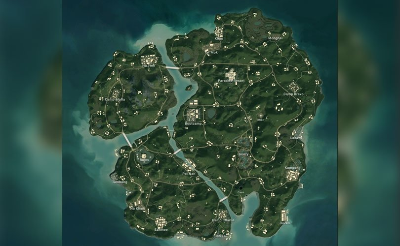 Map of Sanhok in the game Peggy - PUBG game