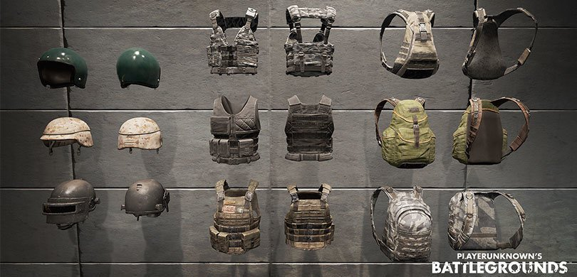 Armors and helmets in the game of Peggy - PUBG game