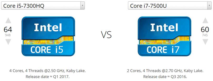 مقارنة معالج Core i7 مع معالج Core i5