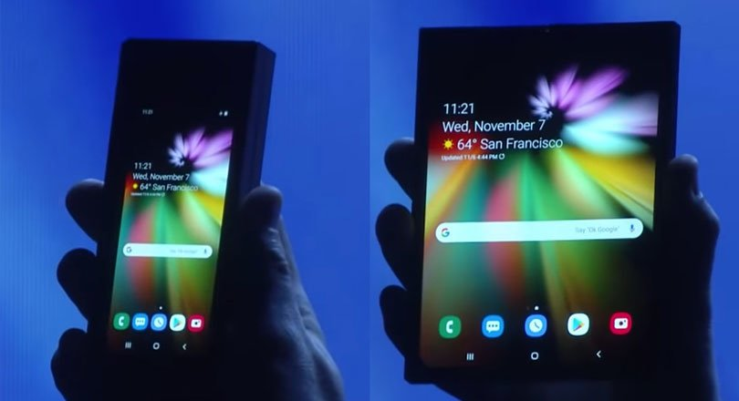 هاتف سامسونج مع شاشة قابلة للطي