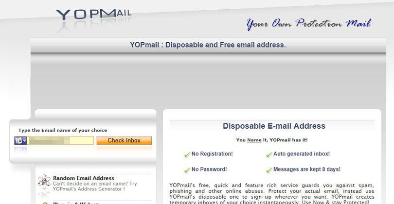 خدمة YOPmail بريد مؤقت \ ايميل مؤقت