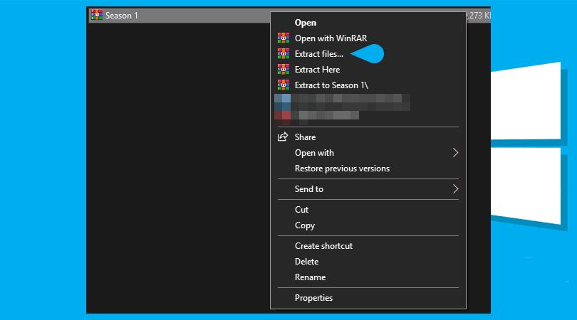 فك الضغط باستخدام برنامج WinRAR
