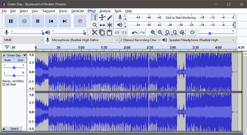 إزالة صوت المغني باستخدام برنامج Audacity