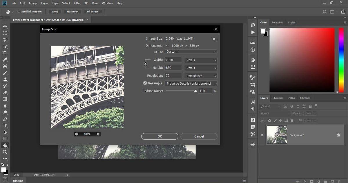 تصغير حجم الصور باستخدام برنامج فوتوشوب