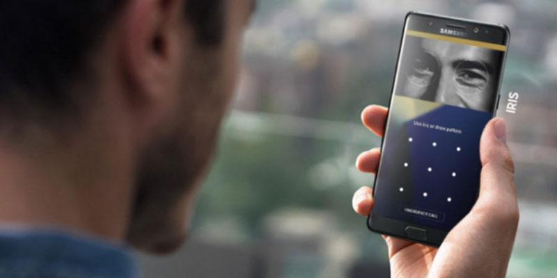 حساس بصمة العين في هاتف Galaxy Note FE