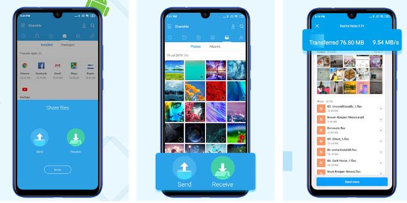 إرسال التطبيقات باستخدام تطبيق ShareMe المعروف سابقاً باسم Mi Drop