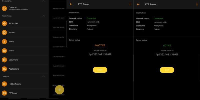 إنشاء خادم FTP من تطبيق Solid Explorer