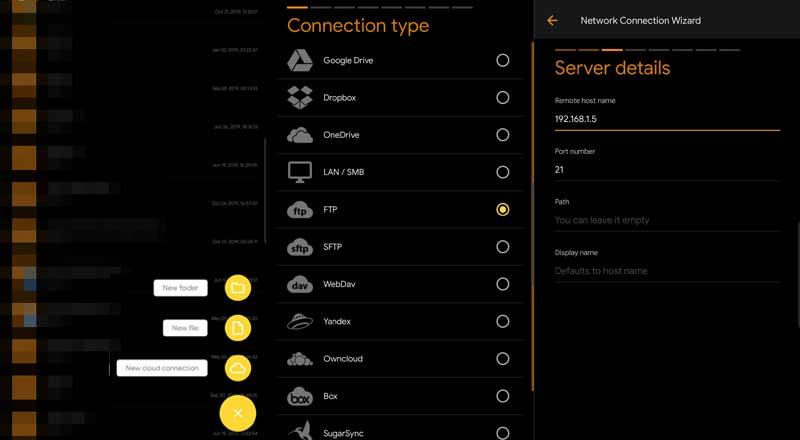 الاتصال بخادم FTP من تطبيق Solid Explorer