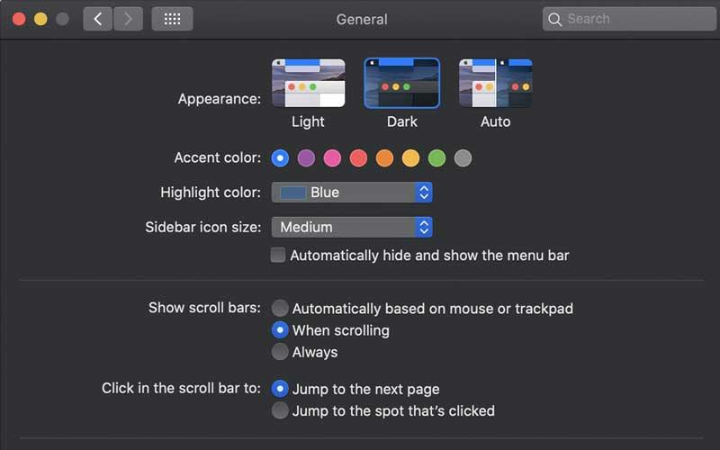 الألوان المظلمة في نظام ماك