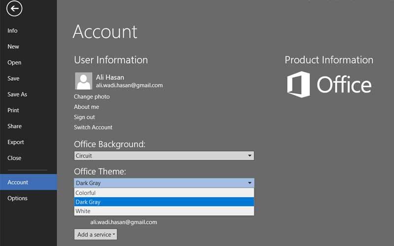 تغيير ألوان Microsoft Office إلى الرمادي القاتم