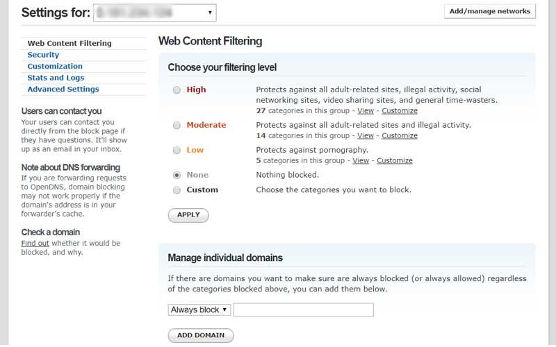شاشة التحكم في OpenDNS لتتمكن من حجب المواقع الإباحية