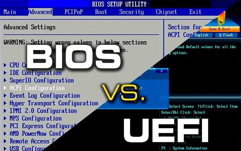 واجهة بيوس BIOS مقابل واجهة UEFI
