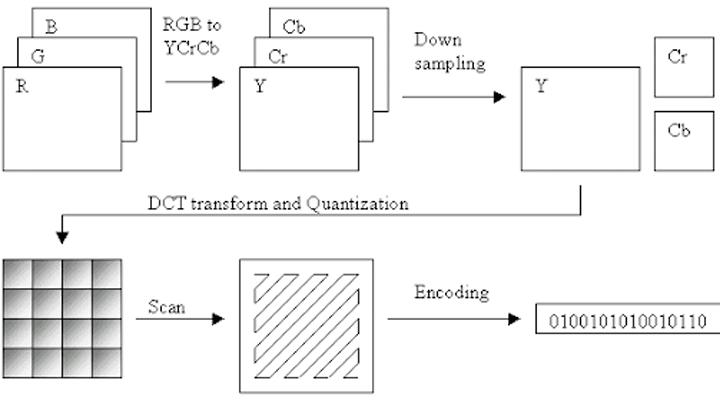 مراحل ضغط الصور باستخدام معايير JPEG