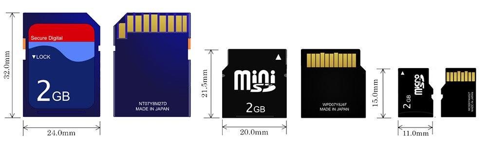 قياسات بطاقات ذاكرة SD