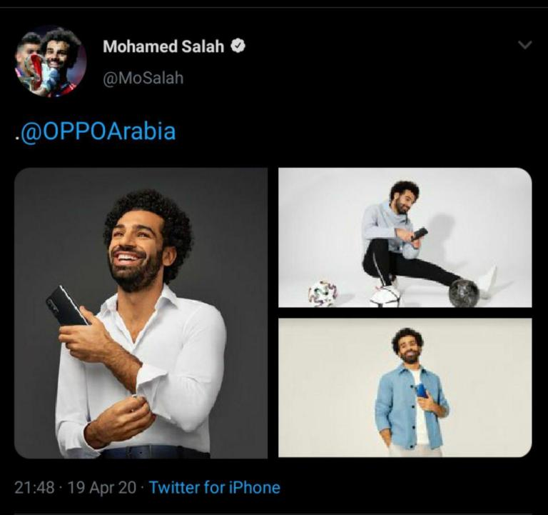 محمد صلاح ينشر تغريدة ترويجية لهواتف Oppo، لكن من هاتف iPhone الخاص به